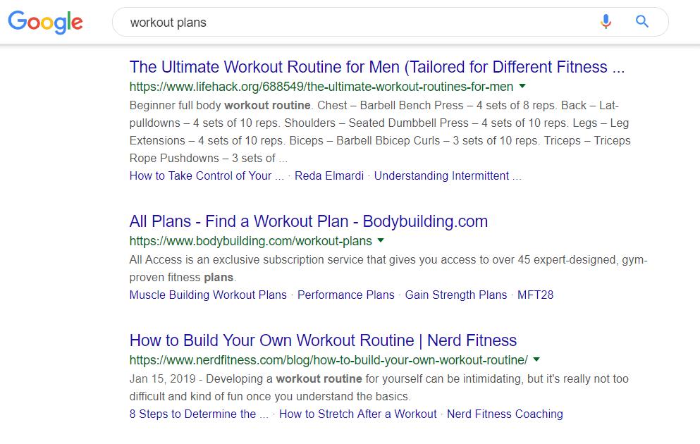 Workout plans Google search