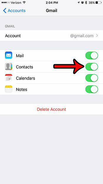 stop contact syncing from the email account 5