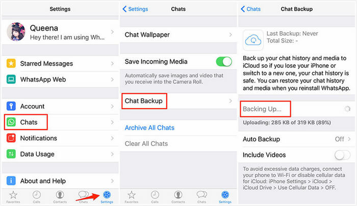 launch whatsApp on your iPhone