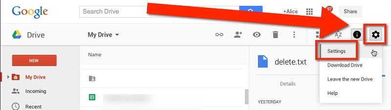 visit the google drive settings
