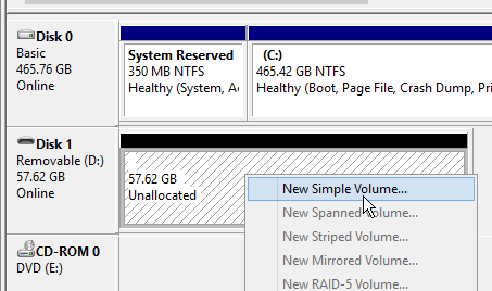 select a new simple volume