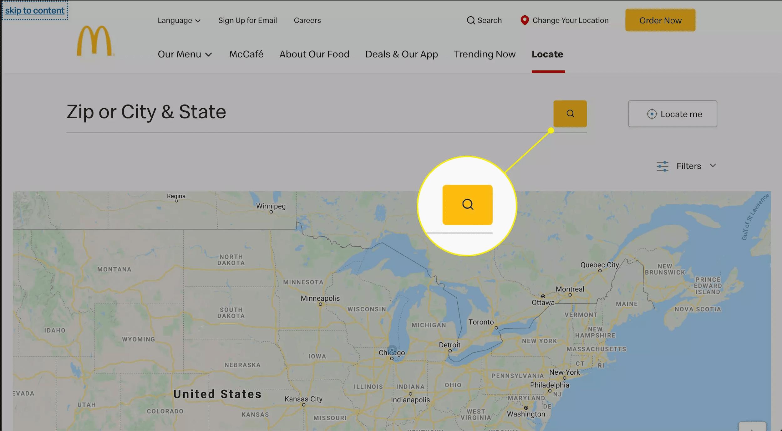 McDonald's locator page