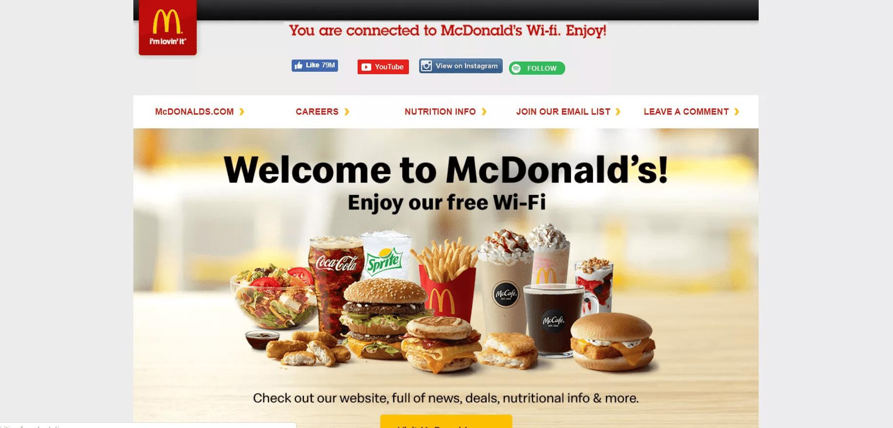 mcdonalds wifi sign in