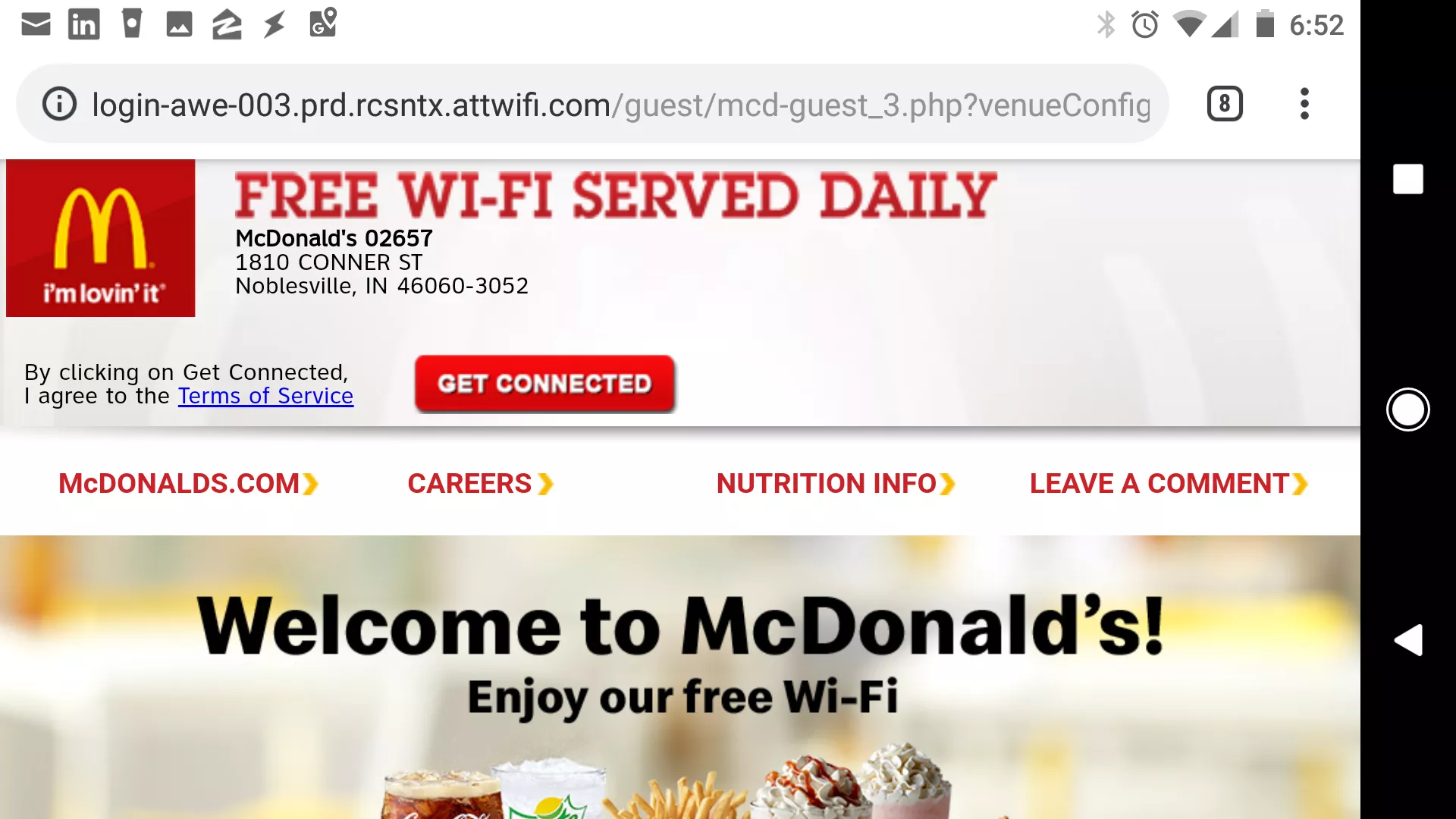 McDonald's welcome page
