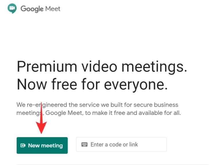 Visit the Google meet website