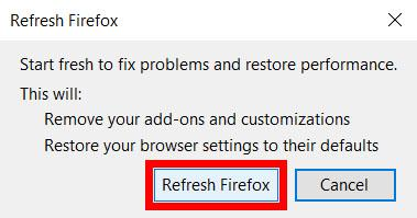 Click on the Refresh Firefox